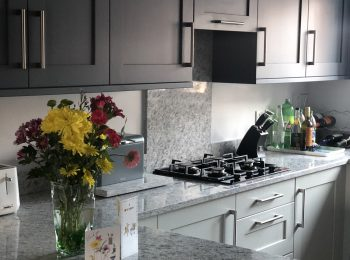 Painted Shaker Light Grey and Dust Grey with London Granite